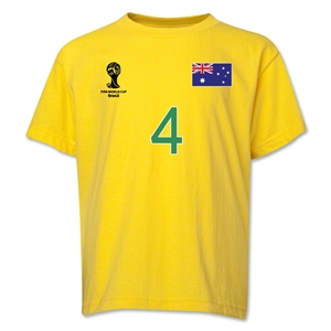 Australia 2014 FIFA World Cup Brazil(TM) Youth Number 4 T-Shirt (Yellow)