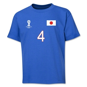 Japan 2014 FIFA World Cup Brazil(TM) Youth Number 4 T-Shirt (Royal)