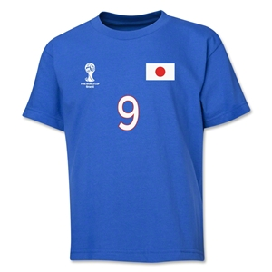 Japan 2014 FIFA World Cup Brazil(TM) Youth Number 9 T-Shirt (Royal)