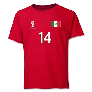 Mexico 2014 FIFA World Cup Brazil(TM) Youth Number 14 T-Shirt (Red)