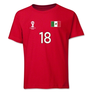 Mexico 2014 FIFA World Cup Brazil(TM) Youth Number 18 T-Shirt (Red)
