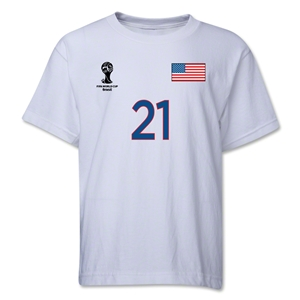 USA 2014 FIFA World Cup Brazil(TM) Youth Number 21 T-Shirt (White)