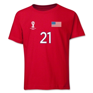 USA 2014 FIFA World Cup Brazil(TM) Youth Number 21 T-Shirt (Red)