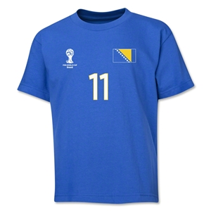 Bosnia-Herzegovina 2014 FIFA World Cup Brazil(TM) Youth Number 11 T-Shirt (Royal)
