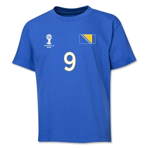 Bosnia-Herzegovina 2014 FIFA World Cup Brazil(TM) Youth Number 9 T-Shirt (Royal)