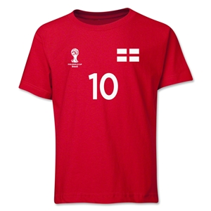 England 2014 FIFA World Cup Brazil(TM) Youth Number 10 T-Shirt (Red)