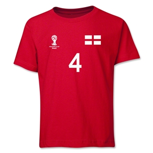 England 2014 FIFA World Cup Brazil(TM) Youth Number 4 T-Shirt (Red)