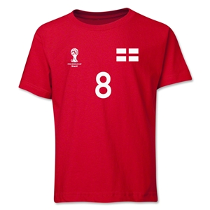 England 2014 FIFA World Cup Brazil(TM) Youth Number 8 T-Shirt (Red)