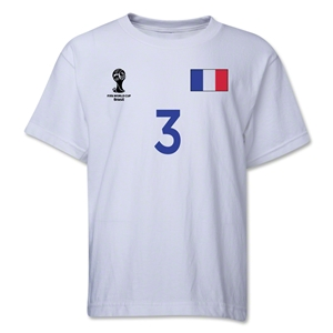 France 2014 FIFA World Cup Brazil(TM) Youth Number 3 T-Shirt (White)