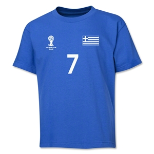 Greece 2014 FIFA World Cup Brazil(TM) Youth Number 7 T-Shirt (Royal)