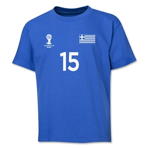 Greece 2014 FIFA World Cup Brazil(TM) Youth Number 15 T-Shirt (Royal)