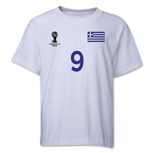 Greece 2014 FIFA World Cup Brazil(TM) Youth Number 9 T-Shirt (White)