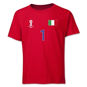 Italy 2014 FIFA World Cup Brazil(TM) Youth Number 1 T-Shirt (Red)
