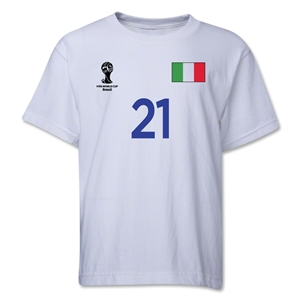 Italy 2014 FIFA World Cup Brazil(TM) Youth Number 21 T-Shirt (White)