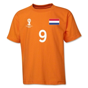 Netherlands 2014 FIFA World Cup Brazil(TM) Youth Number 9 T-Shirt (Orange)