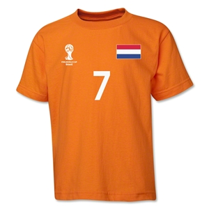 Netherlands 2014 FIFA World Cup Brazil(TM) Youth Number 7 T-Shirt (Orange)