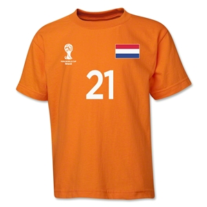 Netherlands 2014 FIFA World Cup Brazil(TM) Youth Number 21 T-Shirt (Orange)
