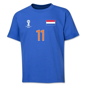 Netherlands 2014 FIFA World Cup Brazil(TM) Youth Number 11 T-Shirt (Royal)
