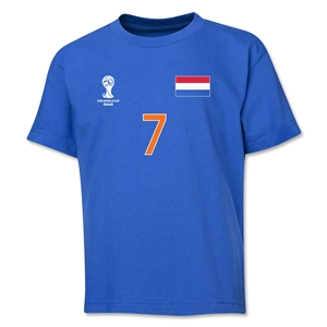 Netherlands 2014 FIFA World Cup Brazil(TM) Youth Number 7 T-Shirt (Royal)