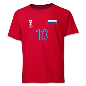 Russia 2014 FIFA World Cup Brazil(TM) Youth Number 10 T-Shirt (Red)