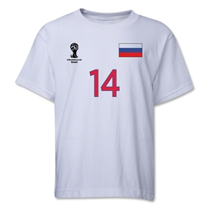 Russia 2014 FIFA World Cup Brazil(TM) Youth Number 14 T-Shirt (White)