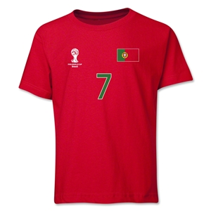 Portugal 2014 FIFA World Cup Brazil(TM) Youth Number 7 T-Shirt (Red)