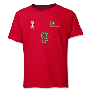 Portugal 2014 FIFA World Cup Brazil(TM) Youth Number 9 T-Shirt (Red)