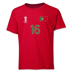 Portugal 2014 FIFA World Cup Brazil(TM) Youth Number 16 T-Shirt (Red)