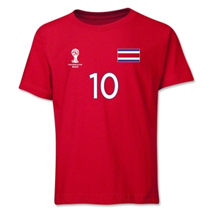 Costa Rica 2014 FIFA World Cup Brazil(TM) Youth Number 10 T-Shirt (Red)