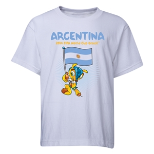 Argentina 2014 FIFA World Cup Brazil(TM) Youth Mascot Flag T-Shirt (White)