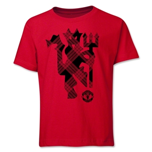 Manchester United Plaid Devil Youth T-Shirt (Red)