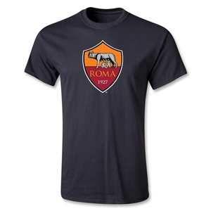 AS Roma Crest Youth T-Shirt (Black)