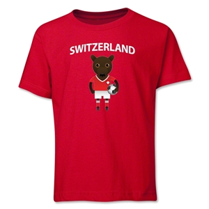 Switzerland Animal Mascot Youth T-Shirt (Red)