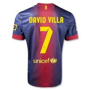 Barcelona 12/13 DAVID VILLA Home Soccer Jersey