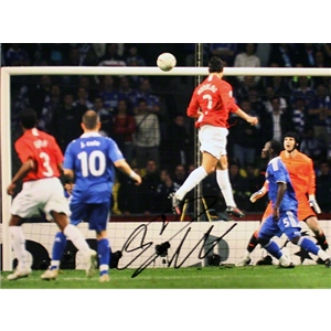 Signed Cristiano Ronaldo Manchester United 2008 UCL Final Goal Photo