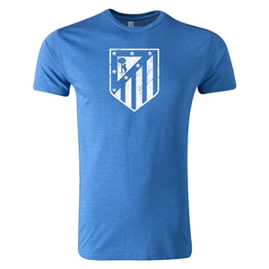 Atletico Madrid Distressed Crest Men's Fashion T-Shirt (Heather Blue)
