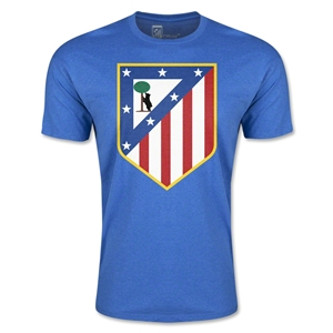 Atletico Madrid Crest Men's Fashion T-Shirt (Heather Blue)
