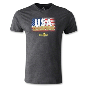 USA CONCACAF Gold Cup 2013 Champions Men's Fashion T-Shirt (Dark Gray)