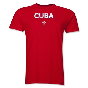Cuba CONCACAF Distressed Men's Fashion T-Shirt (Red)