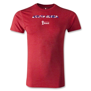 South Korea 2014 FIFA World Cup Brazil(TM) Men's Premium Palm T-Shirt (Heather Red)
