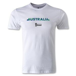 Australia 2014 FIFA World Cup Brazil(TM) Men's Premium Palm T-Shirt (White)
