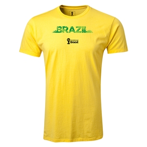 Brazil 2014 FIFA World Cup Brazil(TM) Men's Fashion T-Shirt (Yellow)
