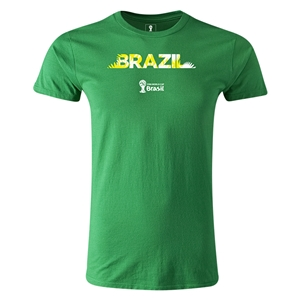 Brazil 2014 FIFA World Cup Brazil(TM) Men's Premium Palm T-Shirt (Green)