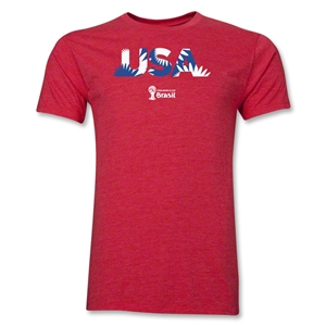 USA 2014 FIFA World Cup Brazil(TM) Men's Premium Palm T-Shirt (Heather Red)