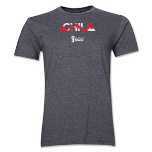 Chile 2014 FIFA World Cup Brazil(TM) Men's Premium Palm T-Shirt (Dark Grey)