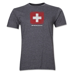 Switzerland FIFA World Cup Brazil(TM) Men's Premium Flag T-Shirt (Dark Gray)