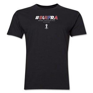 Switzerland v France 2014 FIFA World Cup Brazil(TM) Men's Premium Match Hashtag T-Shirt (Black)