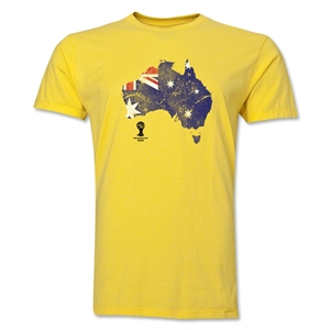 Australia 2014 FIFA World Cup Brazil(TM) Distressed Men's Premium Flag in Country T-Shirt (Yellow)