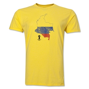 Colombia 2014 FIFA World Cup Brazil(TM) Distressed Men's Premium Flag in Country T-Shirt (Yellow)