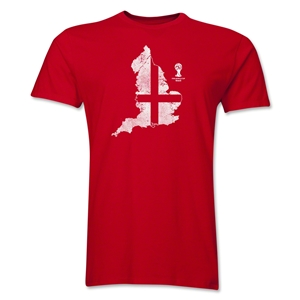 England 2014 FIFA World Cup Brazil(TM) Distressed Men's Premium Flag in Country T-Shirt (Red)